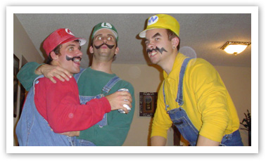 Rett, Dan, and Russ dressed up as Mario, Luigi, and Wario from the Super Mario Bros